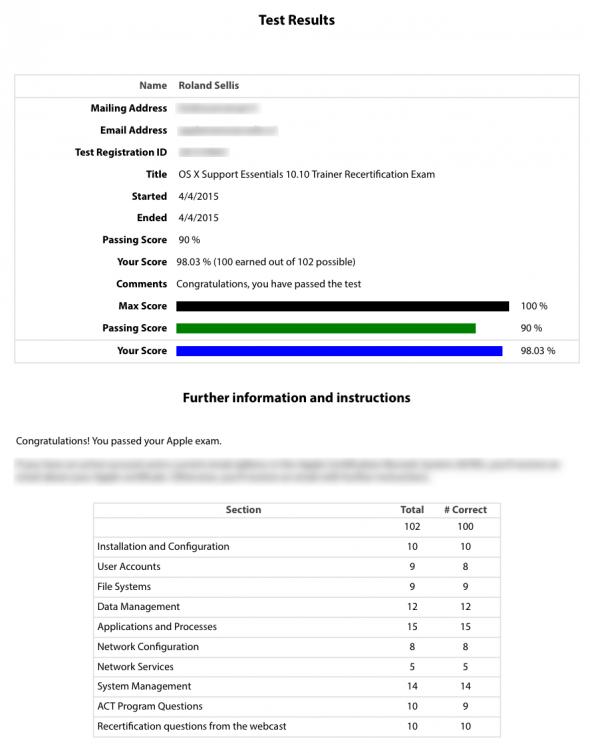 Yosemite 101 Trainer Exam Scores